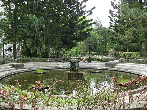 新北投温泉公园的欧式喷水池